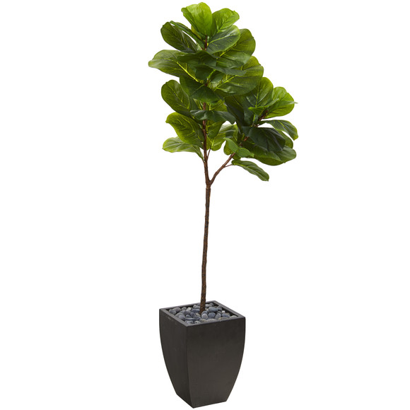 5.5 Fiddle Leaf Artificial Tree in Black Planter Real Touch - SKU #T1143