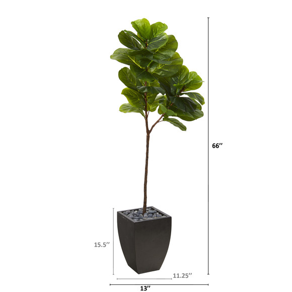 5.5 Fiddle Leaf Artificial Tree in Black Planter Real Touch - SKU #T1143 - 1