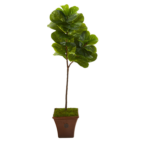 5 Fiddle Leaf Artificial Tree in Brown Planter Real Touch - SKU #T1144