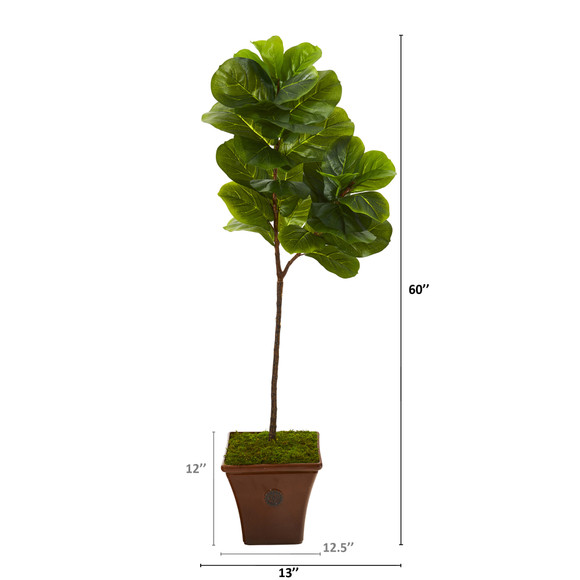 5 Fiddle Leaf Artificial Tree in Brown Planter Real Touch - SKU #T1144 - 1
