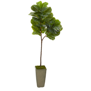 65 Fiddle Leaf Artificial Tree in Green Planter Real Touch - SKU #T1145
