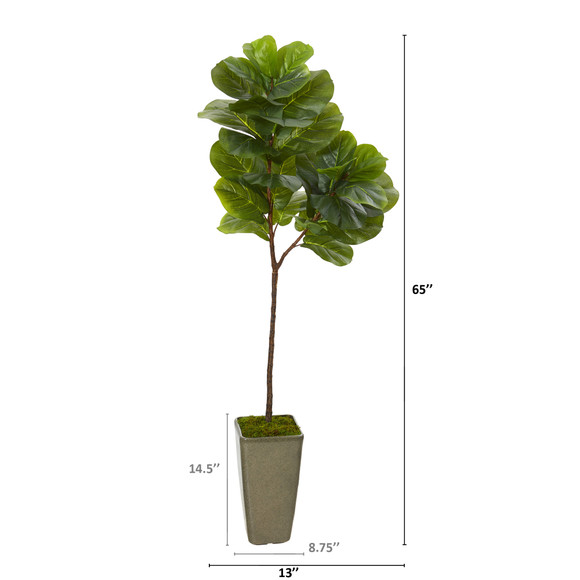 65 Fiddle Leaf Artificial Tree in Green Planter Real Touch - SKU #T1145 - 1