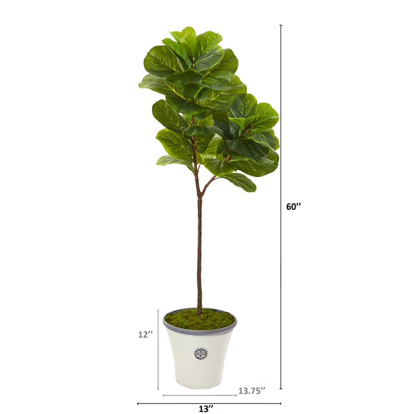 5 Fiddle Leaf Artificial Tree in Decorative Planter Real Touch - SKU #T1146 - 1