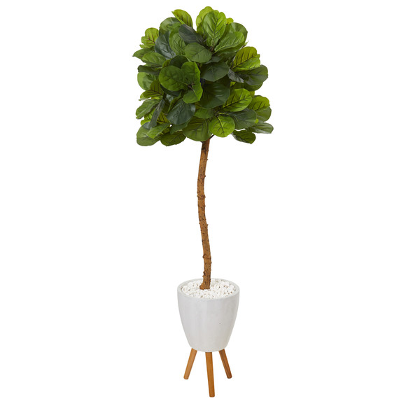 5.5 Fiddle Leaf Artificial Tree in White Planter with Stand Real Touch - SKU #T1147