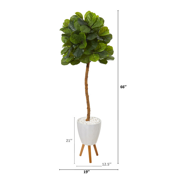 5.5 Fiddle Leaf Artificial Tree in White Planter with Stand Real Touch - SKU #T1147 - 1