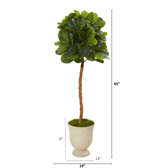 65 Fiddle Leaf Artificial Tree in Decorative Urn Real Touch - SKU #T1148 - 1