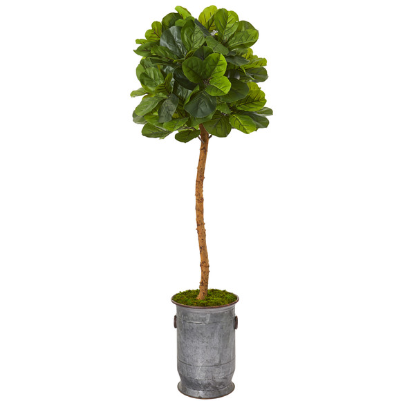 5.5 Fiddle Leaf Artificial Tree in Copper Trimmed Metal Planter Real Touch - SKU #T1149