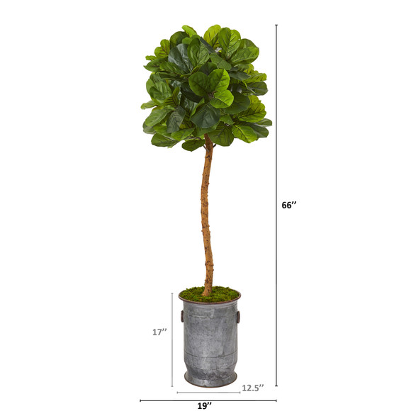 5.5 Fiddle Leaf Artificial Tree in Copper Trimmed Metal Planter Real Touch - SKU #T1149 - 1