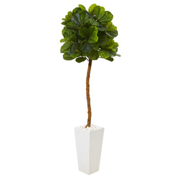68 Fiddle Leaf Artificial Tree in White Planter Real Touch - SKU #T1150