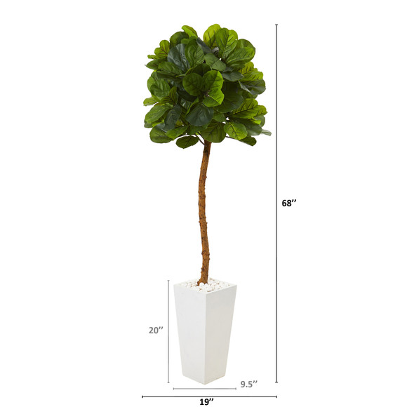 68 Fiddle Leaf Artificial Tree in White Planter Real Touch - SKU #T1150 - 1