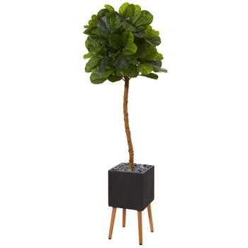 6 Fiddle Leaf Artificial Tree in Black Planter with Stand Real Touch - SKU #T1152