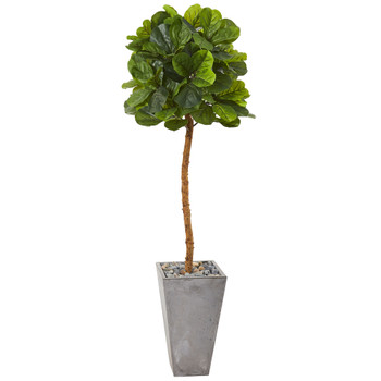 70 Fiddle Leaf Artificial Tree in Cement Planter Real Touch - SKU #T1153