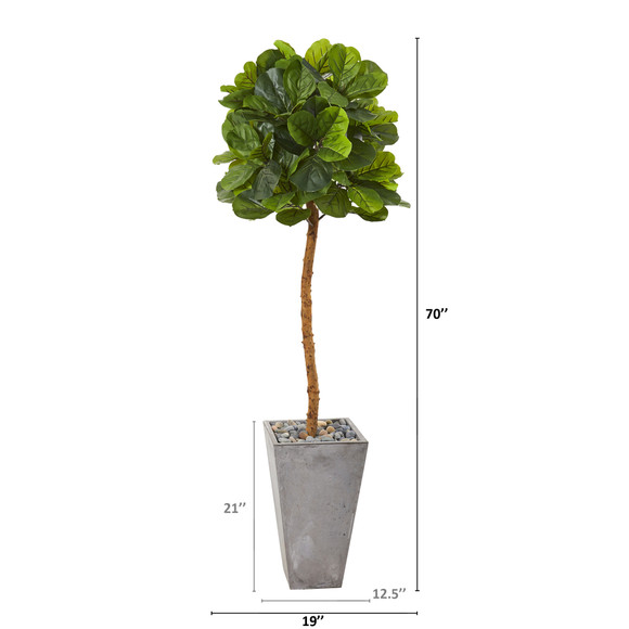 70 Fiddle Leaf Artificial Tree in Cement Planter Real Touch - SKU #T1153 - 1