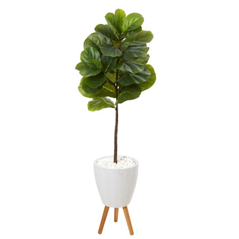 57 Fiddle Leaf Artificial Tree in White Planter with Stand Real Touch - SKU #T1154