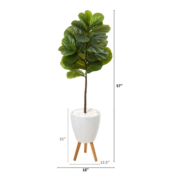 57 Fiddle Leaf Artificial Tree in White Planter with Stand Real Touch - SKU #T1154 - 1