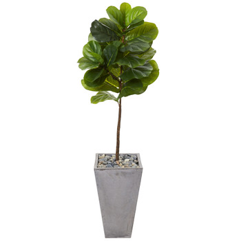 5 Fiddle Leaf Artificial Tree in Cement Planter Real Touch - SKU #T1155