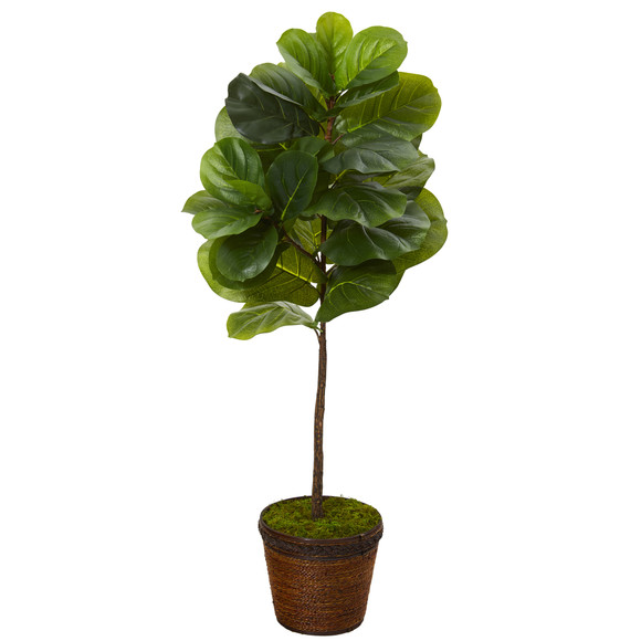 4 Fiddle Leaf Artificial Tree in Coiled Rope Planter Real Touch - SKU #T1156