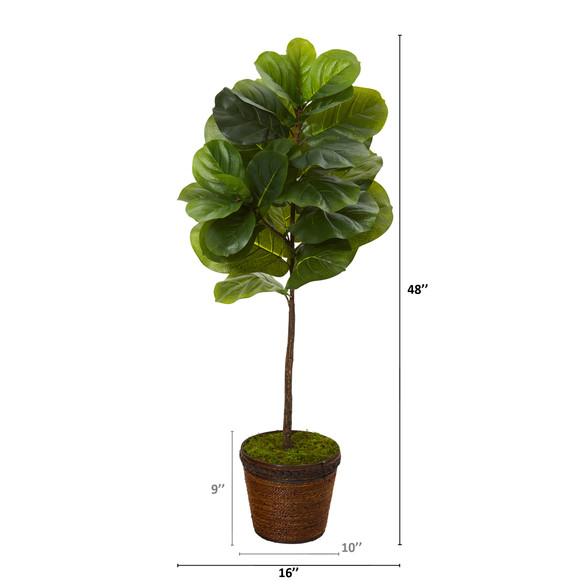 4 Fiddle Leaf Artificial Tree in Coiled Rope Planter Real Touch - SKU #T1156 - 1