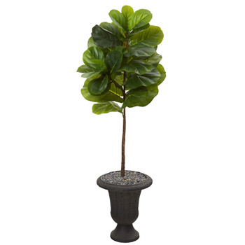 4.5 Fiddle Leaf Artificial Tree in Charcoal Urn Real Touch - SKU #T1157