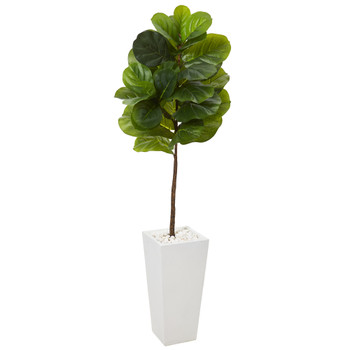 57 Fiddle Leaf Artificial Tree in White Planter Real Touch - SKU #T1158