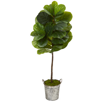 4 Fiddle Leaf Artificial Tree in Vintage Metal Pail Real Touch - SKU #T1159