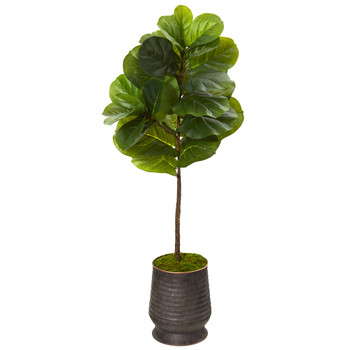 52 Fiddle Leaf Artificial Tree in Ribbed Metal Planter Real Touch - SKU #T1160