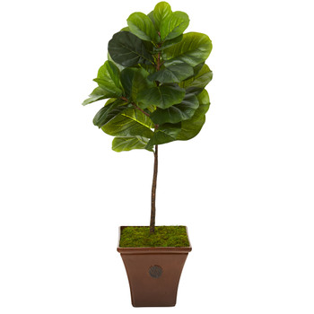 51 Fiddle Leaf Artificial Tree in Brown Planter Real Touch - SKU #T1161