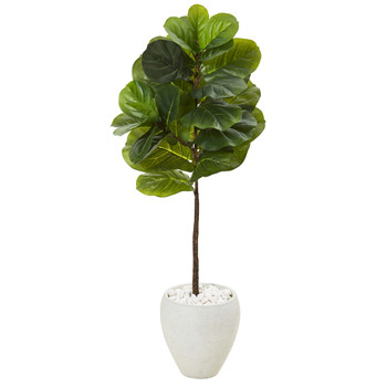50 Fiddle Leaf Artificial Tree in White Planter Real Touch - SKU #T1163