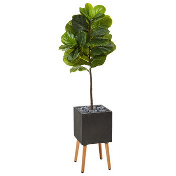 5 Fiddle Leaf Artificial Tree in Black Planter with Stand Real Touch - SKU #T1164