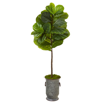 52 Fiddle Leaf Artificial Tree in Vintage Metal Planter Real Touch - SKU #T1166