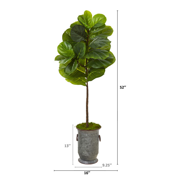 52 Fiddle Leaf Artificial Tree in Vintage Metal Planter Real Touch - SKU #T1166 - 1
