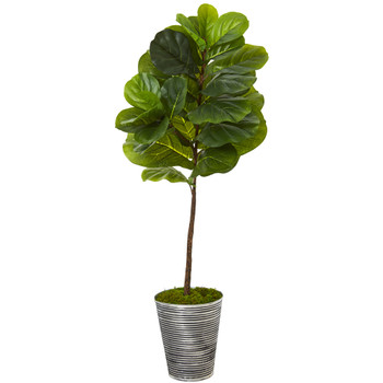 51 Fiddle Leaf Artificial Tree in Decorative Tin Planter Real Touch - SKU #T1169