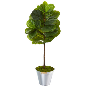3.5 Fiddle Leaf Artificial Tree in Tin Bucket Real Touch - SKU #T1170