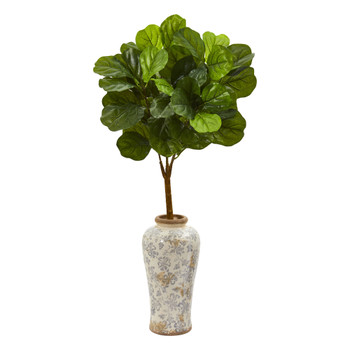 40 Fiddle Leaf Artificial Tree in Designer Vase Real Touch - SKU #T1171