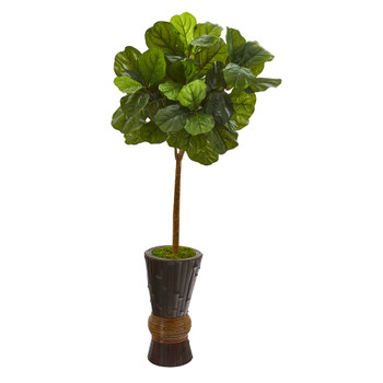 50 Fiddle Leaf Artificial Tree in Bamboo Planter Real Touch - SKU #T1172