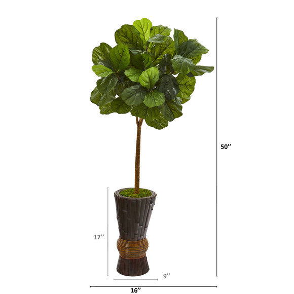 50 Fiddle Leaf Artificial Tree in Bamboo Planter Real Touch - SKU #T1172 - 1