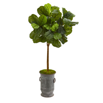 46 Fiddle Leaf Artificial Tree in Vintage Metal Planter Real Touch - SKU #T1173