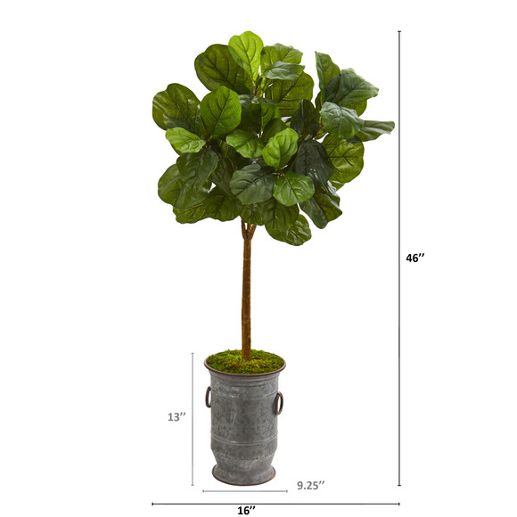 46 Fiddle Leaf Artificial Tree in Vintage Metal Planter Real Touch - SKU #T1173 - 1