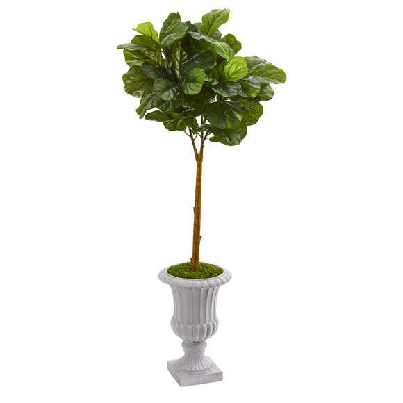 50 Fiddle Leaf Artificial Tree in Decorative Urn Real Touch - SKU #T1174