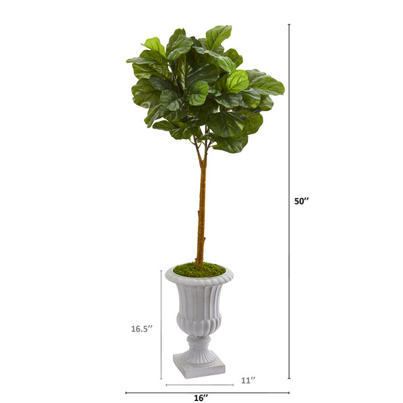 50 Fiddle Leaf Artificial Tree in Decorative Urn Real Touch - SKU #T1174 - 1