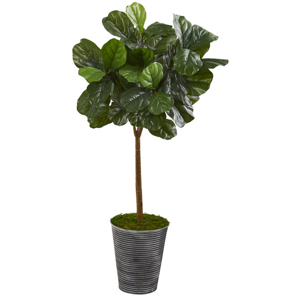 46 Fiddle Leaf Artificial Tree in Decorative Tin Planter Real Touch - SKU #T1176
