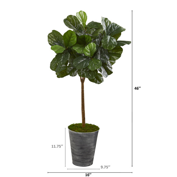46 Fiddle Leaf Artificial Tree in Decorative Tin Planter Real Touch - SKU #T1176 - 1
