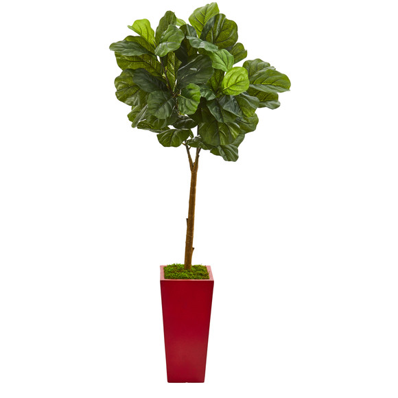 4 Fiddle Leaf Artificial Tree in Red Planter Real Touch - SKU #T1177