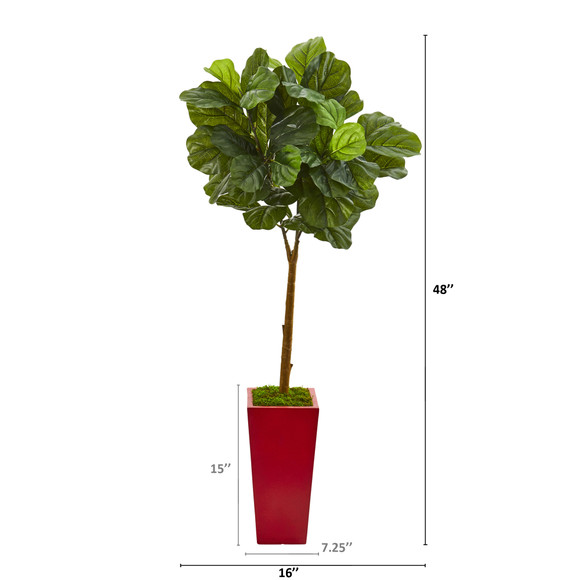 4 Fiddle Leaf Artificial Tree in Red Planter Real Touch - SKU #T1177 - 1