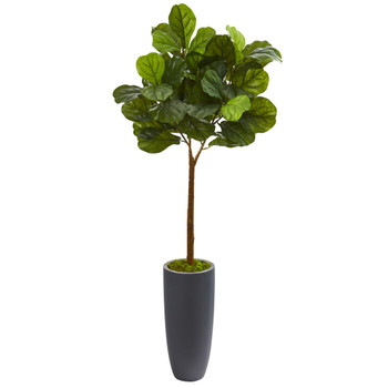 51 Fiddle Leaf Artificial Tree in Gray Planter Real Touch - SKU #T1178