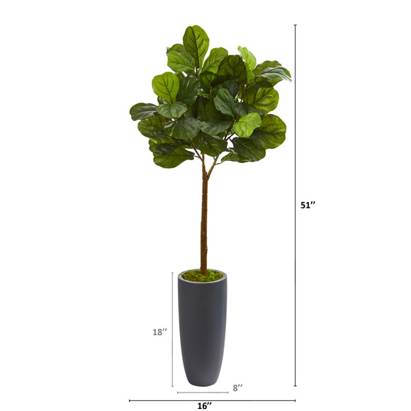 51 Fiddle Leaf Artificial Tree in Gray Planter Real Touch - SKU #T1178 - 1