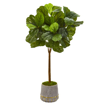 41 Fiddle Leaf Artificial Tree in Stoneware Planter with Gold Trimming Real Touch - SKU #T1179