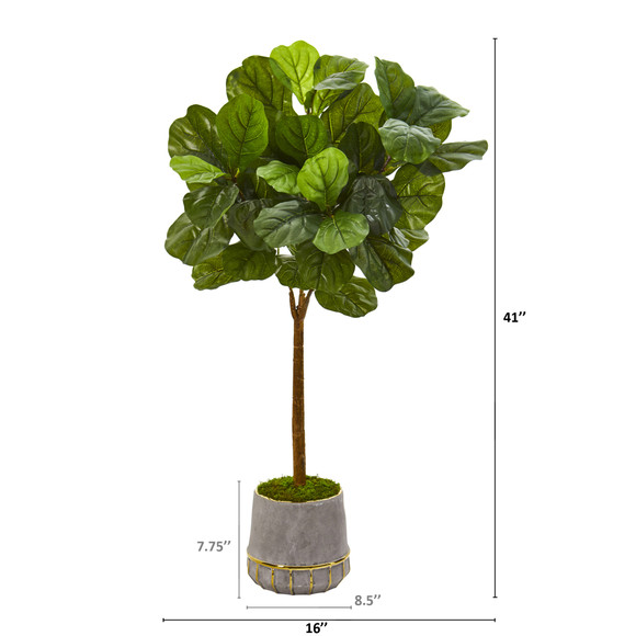 41 Fiddle Leaf Artificial Tree in Stoneware Planter with Gold Trimming Real Touch - SKU #T1179 - 1