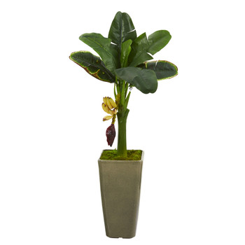 3 Banana Artificial Tree in Olive Green Planter - SKU #T1182