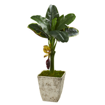 3 Banana Artificial Tree in Country White Planter - SKU #T1183